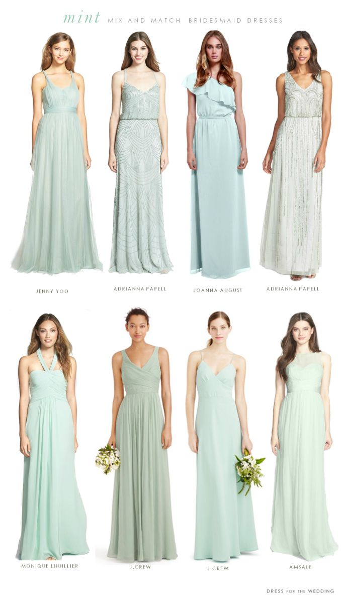 Mint Mismatched Bridesmaid Dresses #mint #wedding