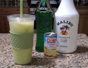 One of my favorites! scooby snack drink with midori, coconut rum and pineapple juice Mix 4 ounces coconut rum, 4 ounces midori, 6 ounces pineapple juice, and 2 ounces half and half (or cream).  Serve over ice