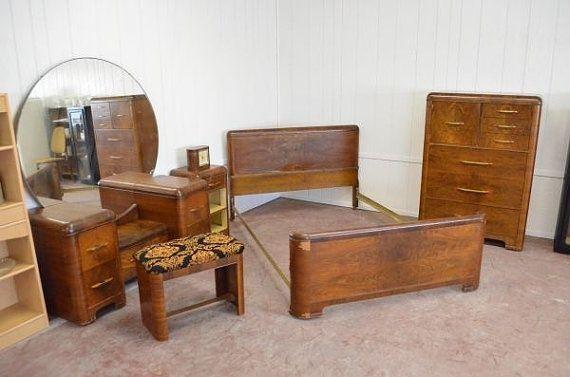 Waterfall Bedroom Furniture 1930s, Art Deco Waterfall Bedroom Furniture
