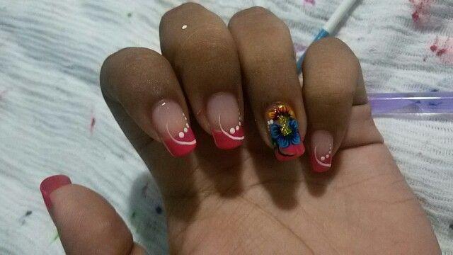 #nails #desing #flower #pink #cute