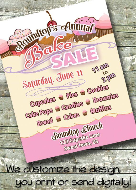 BAKE SALE  Charity Fundraiser  5x7 Invite  8.5x11 by DitDitDigital