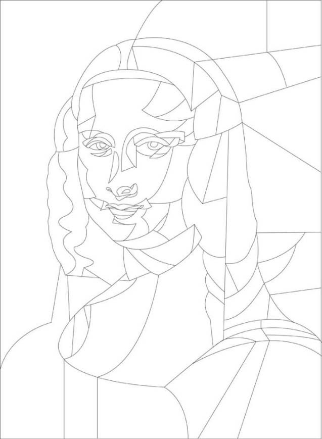 Contour Line Drawing Of Mona Lisa : Best images about coloring art on pinterest keith