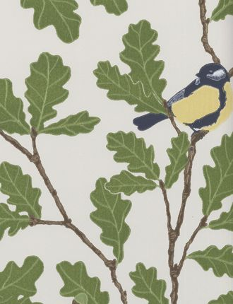 Waldemar wallpaper by Sandberg - birds on oak tree branches with olive green leaves and acorns on white - leaf, foliage