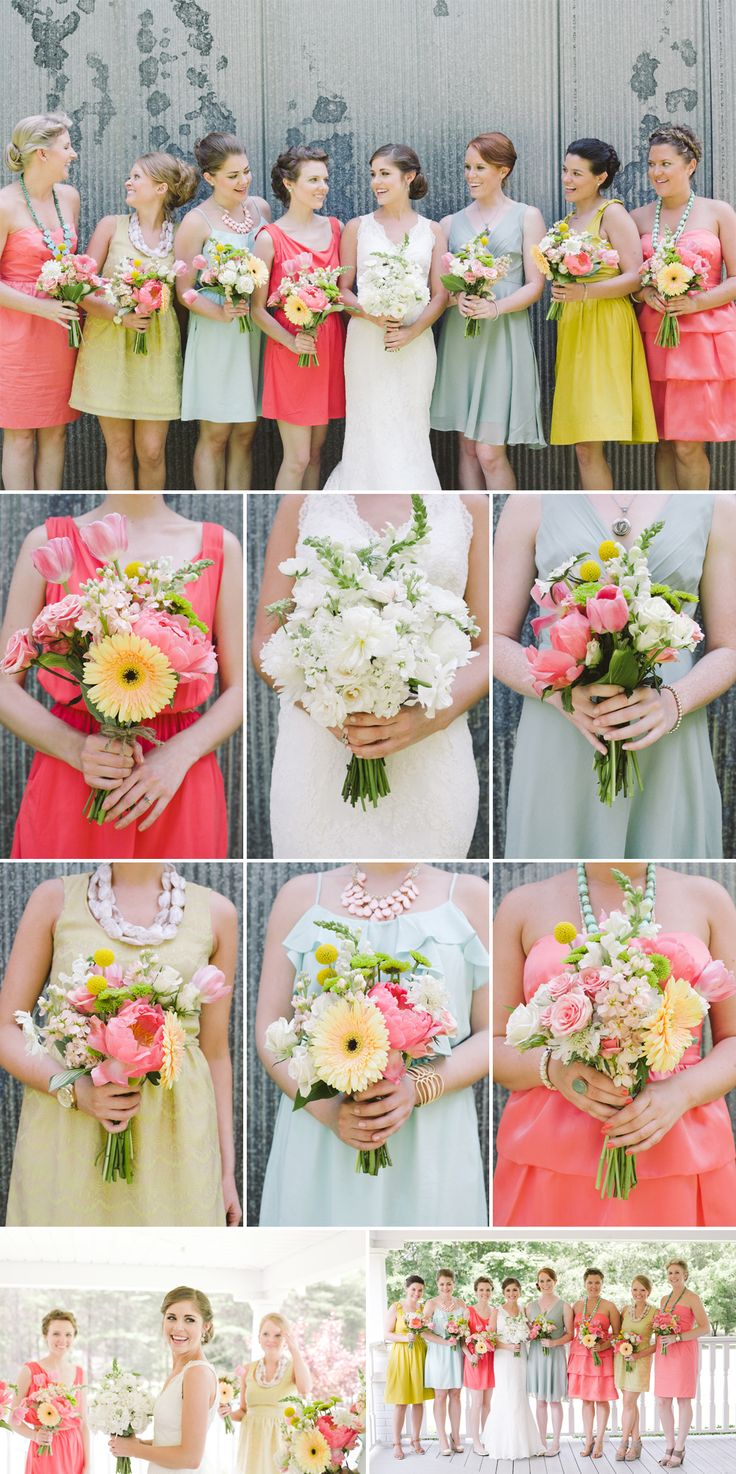 green and coral, and if you don't like the mismatched bridesmaids dresses, the bouquets are pretty!