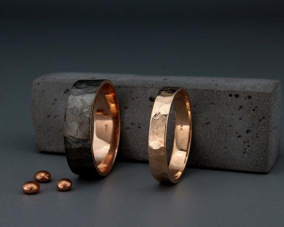 Black and Bright 14k Rose Gold Faceted Wedding Rings Set|Handmade 14k black gold textured faceted wedding bands set 3mm, 4mm, 5mm, 6mm