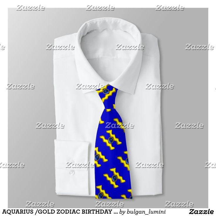 AQUARIUS /GOLD ZODIAC BIRTHDAY JEWEL, Blue Neck Tie #fashion #ties #astrology #zodiac #zodiacal #signs #gemstones
