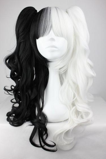 """Парик искусственный косплей длинные хвостики Японское аниме арт.C22 черно-белый цвет 1h1001 - Магазин """"Домик Принцессы"""""""