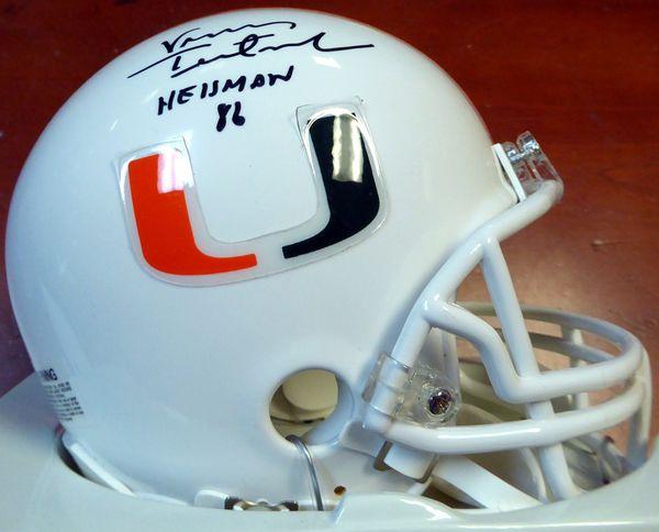 "Vinny Testaverde Autographed Miami Hurricanes Mini Helmet """"Heisman 86"""" PSA/DNA"