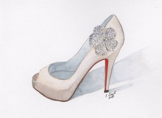 Christian Louboutin Wedding Shoe Red Holiday by WatercolorsbyLiz