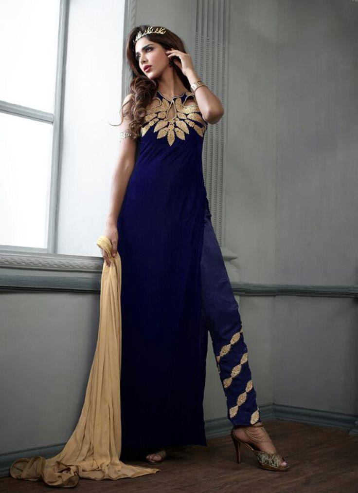 Blue Wholesale Designer Suit In Velvet Fabric
