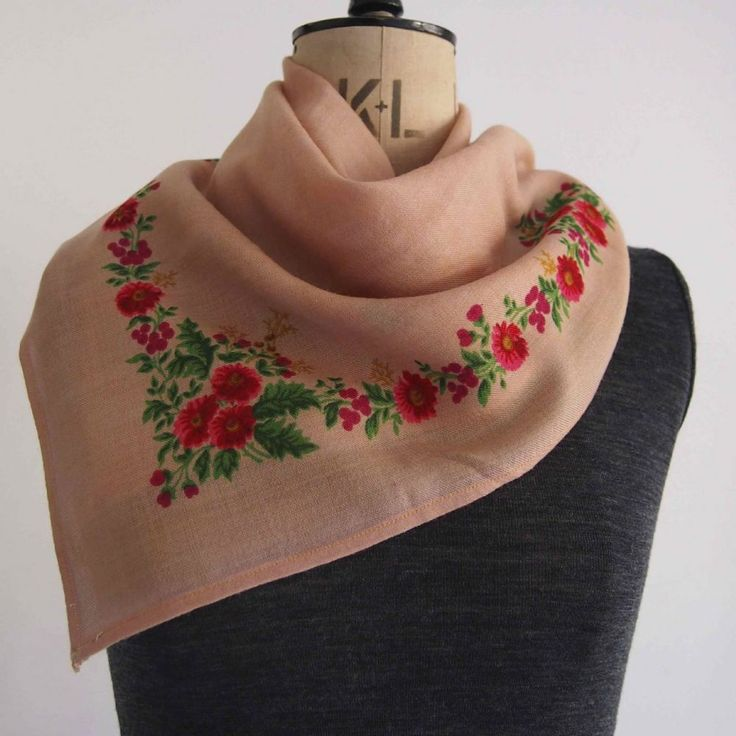 Vintage wool scarf Muted peach ground with printed bright floral border Scarf measures 70 x 72cm