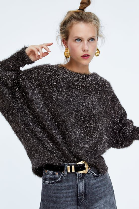 62e0a1d0918d Image 4 of TEXTURED SWEATER WITH METALLIC THREAD from Zara