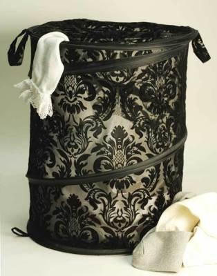 "Brocade Pop-Up Hamper      This clever little laundry bin collapses to the size of a  thin platter and expands to hold a full load! Wired spiral spring.  Ziptop with buttontabs. Flocked polyester. 15x24"".        VTC Exclusive!"