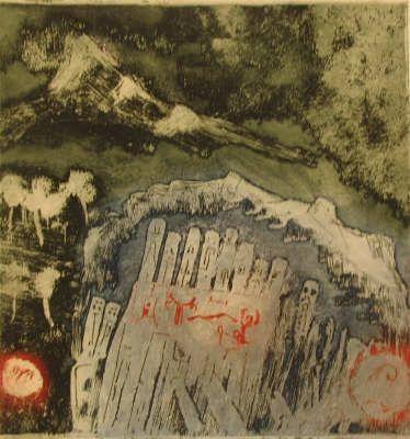 Jan Montyn, etching: Hakone Hokaido, Japan