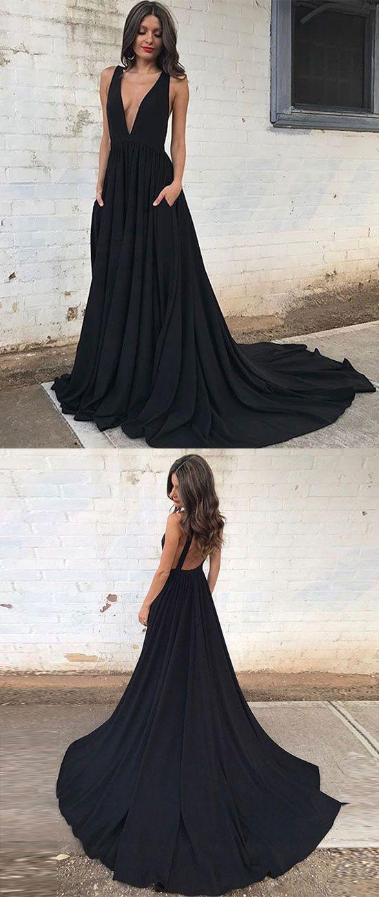 374bae94d13 Sexy A-Line Deep V-Neck Sleeveless Black Court Train Prom Dress ...