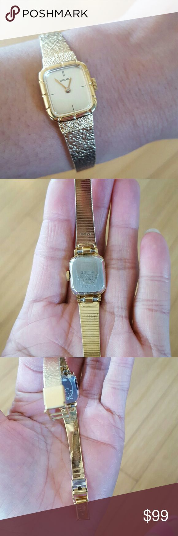 Seiko gold watch... Great condition for this old SEIKO ladies watch...beautiful I think is gold or gold plated ...but not find any mark on it ,,they have some numbers on it...z562y....need a battery...fits 5.5 - 7 inches. Seiko Jewelry