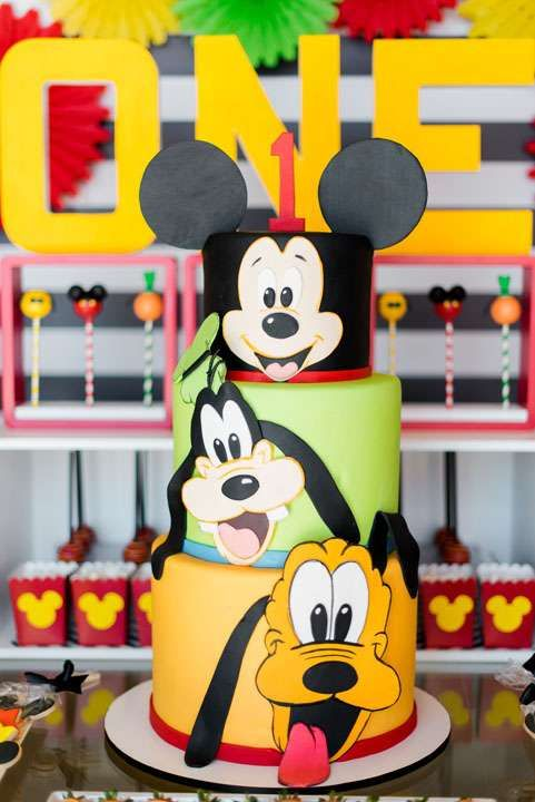 Incredible cake at a Mickey Mouse birthday party! See more party planning ideas at CatchMyParty.com!