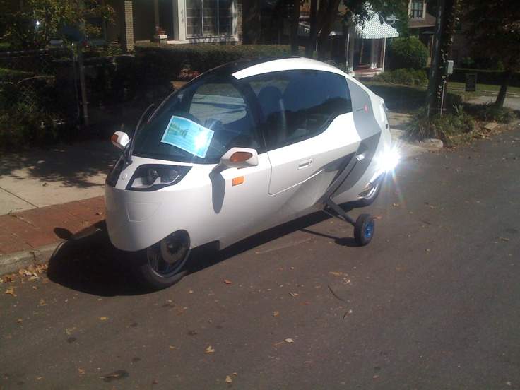 Monotracer, an X Prize-winning alternative vehicle, parked in Midtown, Atlanta.