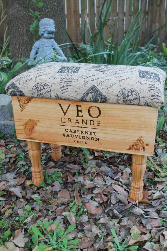 Wine Box Ottoman French Script Burlap by ShabbyFrenchBasement, $190.00
