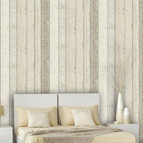 Reclaimed wood panel effect faux wallpaper beige sample for Wood wallpaper bedroom