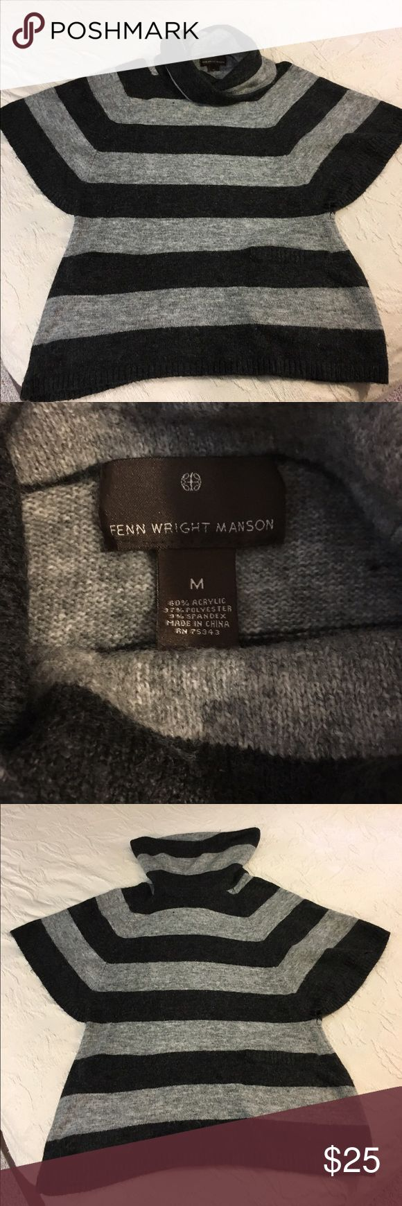 Fenn Wright Manson Cowl Neck Sweater Black and gray cowl neck sweater with two front pockets. Fenn Wright Manson Sweaters Cowl & Turtlenecks
