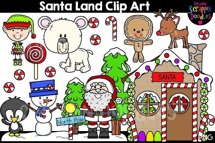 Santa Land Clip Art Cute North Pole Themed Graphics 370596 Illustrations Design Bundles Clip Art Doodle Background Illustration Design