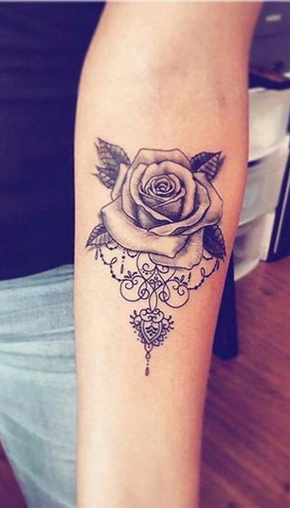 fdd8cf454 Unique Geometric Rose Forearm Tattoo Ideas for Women Mandala Floral Flower  Arm Tattoos - www.MyBodiArt.com