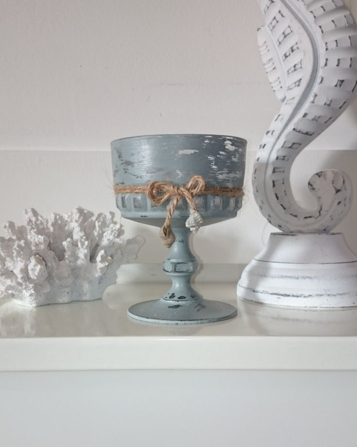 Candle Holder Blue Vintage Glass Table Decoration Garden Light Ramekin Small…