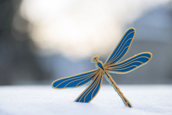 3D printed - Dragonfly nobble blue/gold