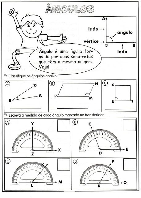 Doutor Matemático: Exercícios de Ângulos: agudo, obtuso, reto, raso ou 1 volta