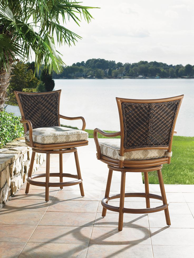 Tommy Bahama Island Estate Lanai Collection Wicker Counter Height Stools