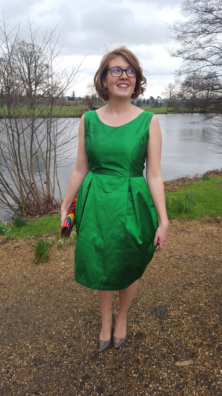 Green silk dupion home sewn dress