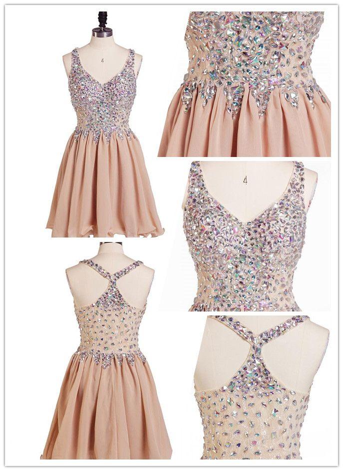 Tidetell.com Exquisite A-line V-neck Chiffon Homecoming Dress with Rhinestone, chiffon homecoming dresses, beaded homecoming dresses, homecoming dresses with straps, short prom dresses, party dresses, graduation dresses