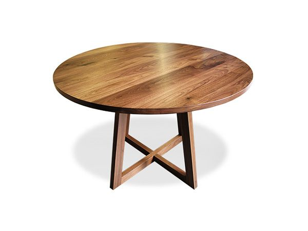 Finn Solid Walnut Round Pedestal Dining Table 42 Diameter