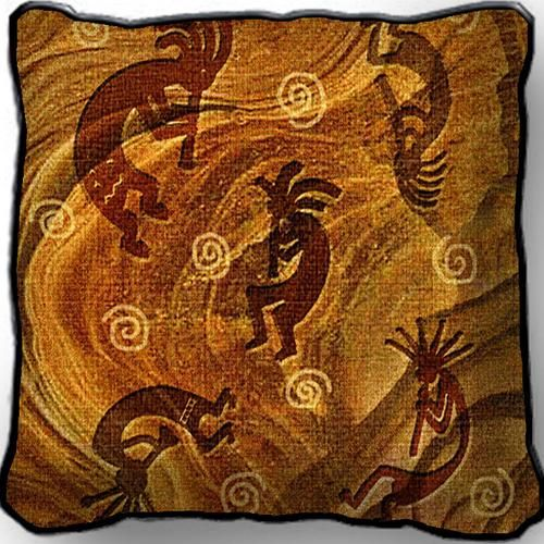 "Kokopelli Musicians Southwestern Tapestry Pillow 17"" x 17"" #southwestern #decorating"