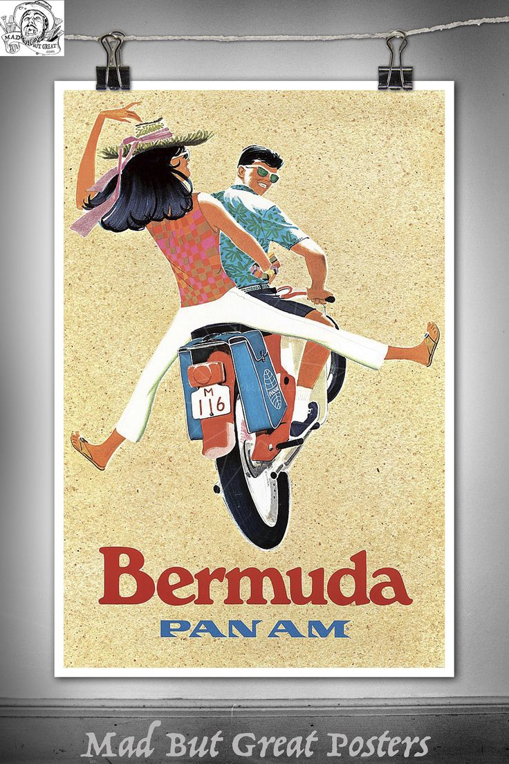 Bermuda - Pan Am - Couple on Scooter - 1960, poster, vintage, wall art, home decor, gift, transport, travel, airlines, retro, america, print by MadButGreatPosters on Etsy