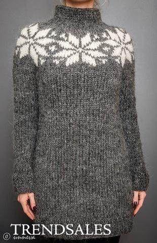 FruStrik - Kjole, lang sweater, sweater, islandsk uld, håndstrik, handmade, Fru Strik