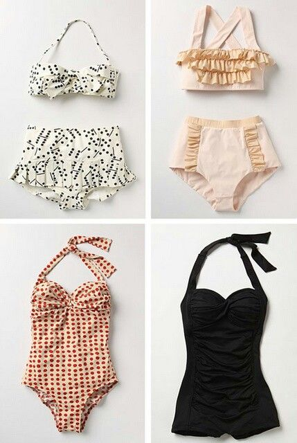 I just adore the black swimsuit on the right - so figure flattering on all body types.
