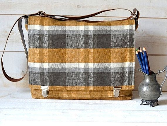 Waterproof  Messenger bag in MUSTARD Honey Gold titanium Whitecap Gray plaid preppy upholstery HP Design Contest  / Made to order