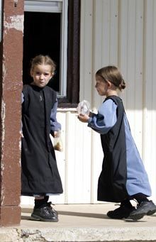 Two Amish Girls Playing