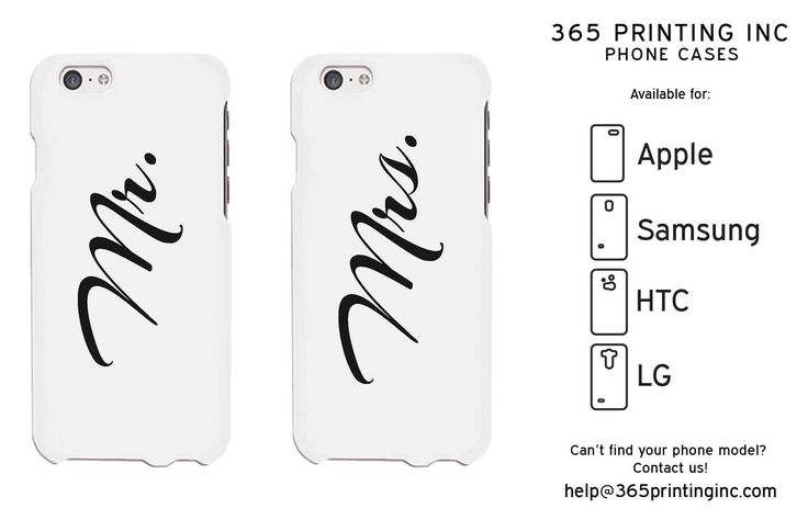 Mr and MRs Cursive White Matching Couple Phone Cases Anniversary Gift