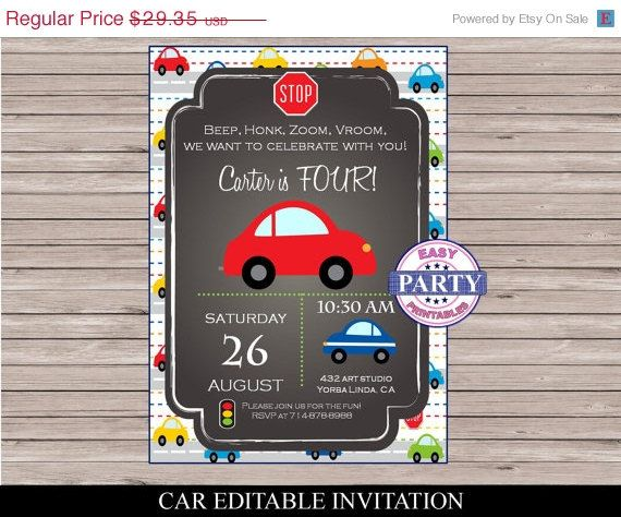 FLASH SALE Car Party Editable Invitation, red and gray, Create your own invitation, Any Occasion, cars, street lights, stop signs, edit your on Etsy, $5.87