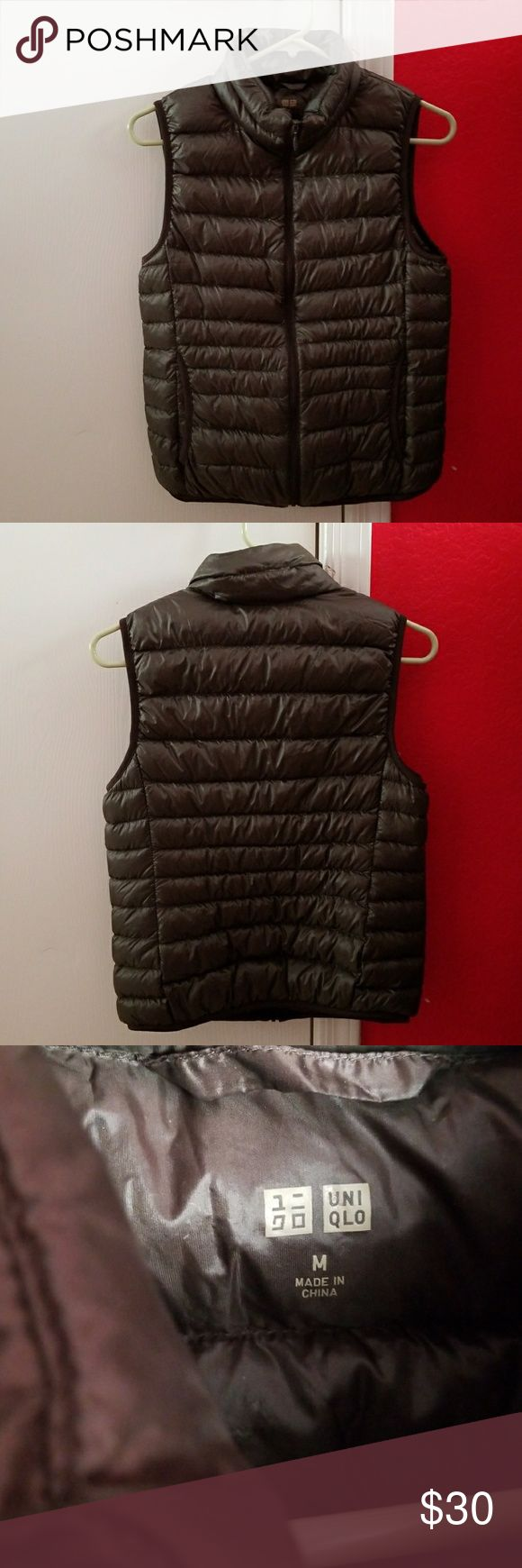 Brand new uniqlo ultra light down vest, m, brown Brand new uniqlo women ultra light down vest, size medium, color brown.Super light weight and compact! Uniqlo Jackets & Coats Vests