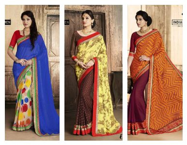"""""""Sarees for 2499/-"""" These Pretty saree is near to your door steps. Georgette saree with attached blouse. For booking and further details pls call or whatsapp us at +919600639563. Happy shopping y'all :) Be Beautiful :)"""