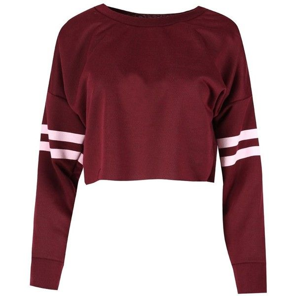 Be Jealous Women's Sport Stripe Long Sleeve Oversized Sweatshirt... ($6.99) ❤ liked on Polyvore featuring tops, hoodies, sweatshirts, sports sweatshirts, red sweatshirt, crop top, long sleeve tops and stripe crop top