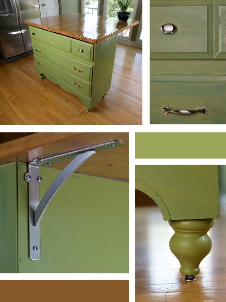 "Dresser to Kitchen Island. Repurpose old dresser into an island for the kitchen. Attach a butcher block to added work space. Adding Brackets make it an ""eat at"" island."