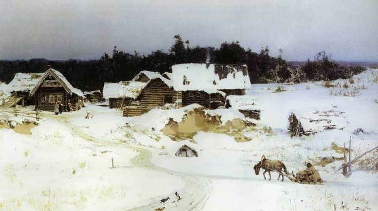 Vasily Dmitriyevich Polenov - Winter. Imochentsy, (1880). Oil on canvas, 62.7 x 107 cm. The Museum of Russian Art, Kiev, Ukraine.