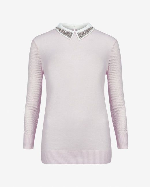 Embellished collar sweater - Pale Pink | Sweaters | Ted Baker