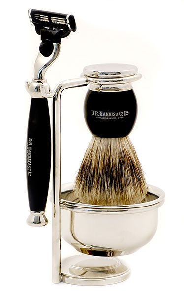 An elegant 4 piece shaving set embossed with the D. R. Harris logo which will grace any bathroom. The razor takes Gillette Mach 3 blades and the shaving brush with the chrome base is of medium weight. Storing the brush in this way ensures it will dry correctly and will prolong its life.