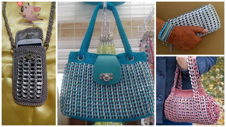 Aprende cómo tejer bolsos y fundas con anillas de latas recicladas